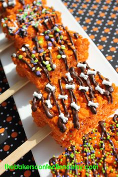 Made these this morning!  Fun Halloween rice crispy treats!  Dyed them orange with our new electric orange Americolor food coloring and it worked great!