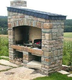 outdoor grill - Another! Outdoor Grill Area, Outdoor Kitchen Patio, Outdoor Fire, Outdoor Living, Design Barbecue, Stone Bbq, Barbecue Garden, Built In Braai, Brick Bbq