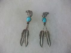 Vintage Sterling Silver Eagle Head Turquoise Feathers Dangle Posts