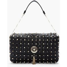 VERSACE Black Studded Quilted Leather Chain-Strap Shoulder Bag ($2,645) ❤ liked on Polyvore