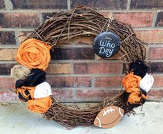 Cincinnati Bengals Who Dey Wreath by VineandWineBoutique on Etsy https://www.etsy.com/listing/109286759/cincinnati-bengals-who-dey-wreath