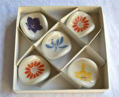 Vintage Chopstick Rests  Porcelain Flowers