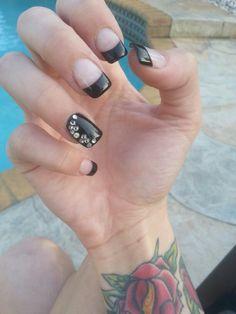 More simple & cute nail design #black #bling #classy