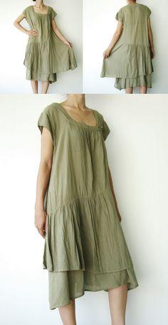 NO.52  Light Olive Cotton 2 layered Sun Dress. $45.00, via Etsy.