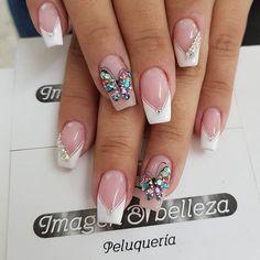 really cute glitter nail designs! you will love 20 Shellac Nails, Nail Manicure, Glitter Nails, Bridal Nail Art, Classic Nails, Butterfly Nail, Luxury Nails, Elegant Nails, Hot Nails