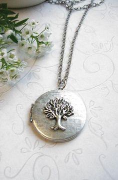 Silver tree locket necklace