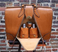 """1940's Leather Brief-O-Fold Accordion Camel Colored Briefcase with """"Refreshment"""" Pocket."""