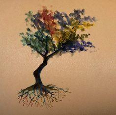 tree watercolor on dark skin   tattoo stencil – temporary tattoo copy