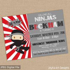 Ninja Warrior Birthday Invitation. American by JoyfulArtDesigns