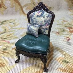 Bespaq Chair Seat Side Hunt Fabric with Pillow OOAK 1:12 Dollhouse Miniature