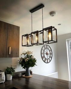 Perfect Dining room table lights from Dunhelm Lights Over Dining Table, Dining Table Lighting, Dining Room Table Decor, Dining Room Light Fixtures, Kitchen Chandelier, Dining Room Ceiling Lights, Lights Hanging From Ceiling, Glass Dinning Table, Chandelier Ideas