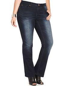 Hydraulic Plus Size Bailey Slim-Bootcut Jeans, Dark Wash