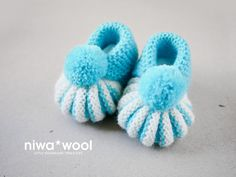 Hand knitted baby booties by niwawool on Etsy