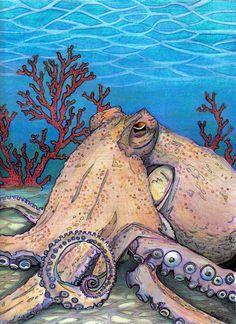 Octopus by on deviantART Octopus Painting, Octopus Art, Boat Painting, Fish Art, Kraken, Octopus Pictures, Octopus Tattoos, Underwater Creatures, Sea Art