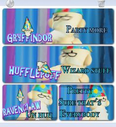 Potter puppet pals: Why u not include Slytherins? We're not all bad <--That part of the video was pretty funny tho xD Harry Potter Puppets, Potter Puppet Pals, Harry Potter Jokes, Harry Potter Fandom, Very Potter Musical, Yer A Wizard Harry, Harry Potter Universal, Mischief Managed, Ravenclaw