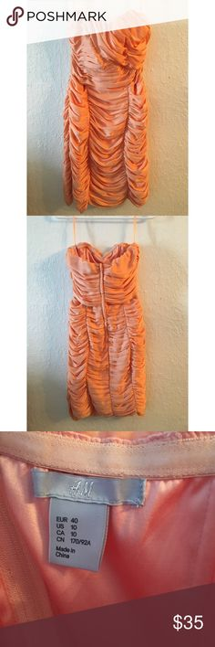 H & M Ruched Sherbet Orange Dress Size 10. Worn once - great condition. H&M Dresses Strapless