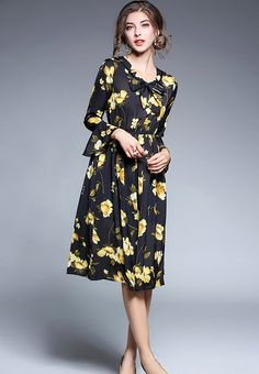 New In  Floral Bowknot Lo...    Check it out here! http://nbrandfashion.com/products/floral-bowknot-long-sleeve-a-line-dress-nr1257-mul?utm_campaign=social_autopilot&utm_source=pin&utm_medium=pin