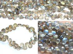 Labradorite heart faceted beads strands (Code-22\81).. #labradorite #heartfaceted