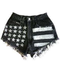 Vintage, cut off,  jeans,  shredded,  damaged,  fray,  grunge, omen eye, short, shorts, AMerican flag $43.99