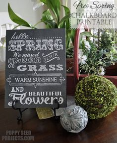 Free Spring Chalk Board Printable from Poppy Seed Projects