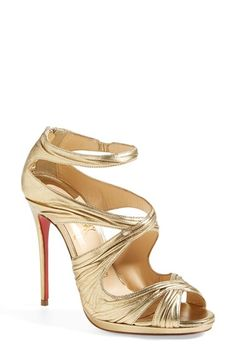 5317a4f10d5c32 Christian Louboutin  Kashou  Metallic Nappa Leather Sandal available at   Nordstrom Red Bottom Heels
