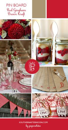 Red Gingham & Brown Kraft Paper...Love the red dahlias, the strawberry shortcake in a jar, the jam favors, the pennants..all so cute, but not cutesy