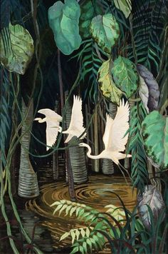 "art-and-things-of-beauty: "" Jessie Arms Botke - Egrets in a swamp, oil and goldleaf on board, 61 x cm. Flora Und Fauna, Jungle Art, Forest Illustration, Bird Art, Beautiful Birds, Japanese Art, Painting Inspiration, Fantasy Art, Cool Art"