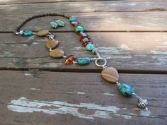 Wood Jasper, Turquoise and Brown Crystal Necklace and Earrings by RagayJewelry on Etsy https://www.etsy.com/listing/470779862/wood-jasper-turquoise-and-brown-crystal
