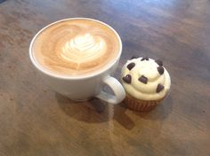 MoCo Signature latte paired with local bakery brown sugar cookie dough cupcakes