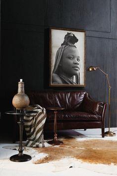 A chocolate space. Photograph by Jess #leathersofa #livingroom