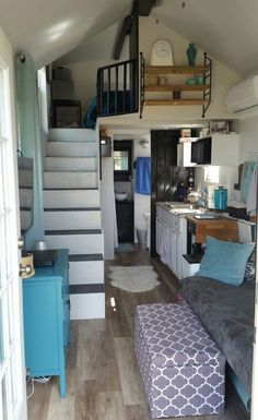 A 240 square feet tiny house on wheels in Afton, Tennessee.