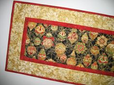 Christmas Table Runner Quilted from Kaufman by PicketFenceFabric, $33.95