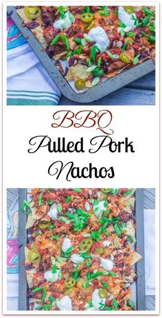 Sheet -Pan Barbeque Pulled Pork Nachos. Leftover pulled pork, BBQ sauce,  and favorite toppings on a bed of tortilla chips.