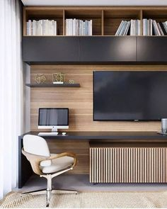Modern home office. No matter if you are a home office or a-Modernes Büro zu Hause. Egal ob Sie ein Home Office oder ein Resto planen Modern home office. No matter whether you are planning a home office or a resto - Home Office Space, Home Office Decor, Office Ideas, Desk Ideas, Office Spaces, Office Storage Ideas, Modern Office Decor, Room Ideas, Rustic Office