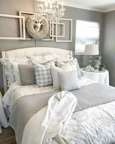 35 Relaxing Farmhouse Bedroom Design Ideas To Try In Your Home - Decorating your bedroom with white bedroom furniture has so many benefits that I don't see why anyone wouldn't, at the least consider, using this furn. Cozy Bedroom, Kids Bedroom, Bedroom Curtains, Bedroom Wallpaper, Master Bedrooms, Bedroom Small, Girl Bedrooms, Bedroom 2018, Bedroom Suites