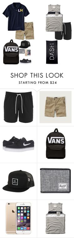 """Beach with Emma - Beau Larrett"" by celeb-families ❤ liked on Polyvore featuring Lacoste, Abercrombie & Fitch, NIKE, Vans, RVCA, Herschel Supply Co., men's fashion and menswear"