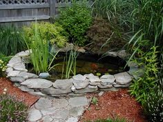 stacked wall around pond