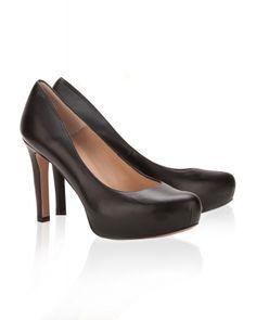 Zapatos negros de salón en piel con tacón medio Plataforma Negra b1e50c183606