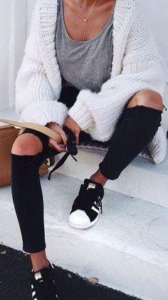 fall street easy style. grey tee. chunky fluffy cardigan. black denim. adidas.
