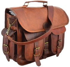 """2 Side Pouch Brown Leather Motorcycle Side Pouch Saddlebags Saddle 2 Bag. Designed to carry 15"""" Brown Leather Motorcycle Side Pouch Saddlebags. 2 small pocket in front & 2 small pocket in side. The Leather we use are made from fine quality of hides available. 