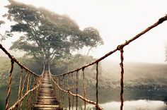 Rope bridge in the mountains of Sapa, Vietnam thought to bring good luck to those who cross