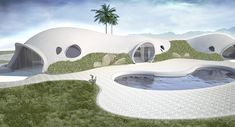 Binishells may be the greenest way to build ever invented. Using low air pressure to lift and shape reinforced concrete thin shell structures, poured at ground level, Binishells essentially use air as their form work. Sustainable Architecture, Architecture Design, Futuristic Architecture, Monolithic Dome Homes, Green House Design, Concrete Structure, Dome House, Earth Homes, Good Find