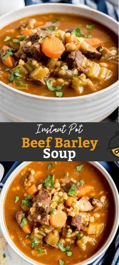 This Beef and Barley soup is made in the Instant Pot and cooks so much quicker than classic Beef and Barley Soup made on the stove top. A lot quicker! This tasty soup is a meal on its own and perfect for weeknight family meals. #lemonblossoms #instantpot #soup #beef