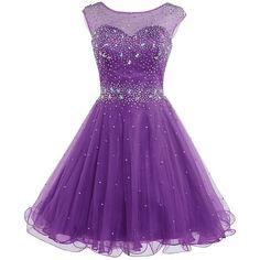 Belle House Women's Short Tulle Beading Homecoming Dress Prom Gown... ($63) ❤ liked on Polyvore featuring dresses, gowns, purple dress, purple homecoming dresses, short homecoming dresses, prom gowns and short evening dresses