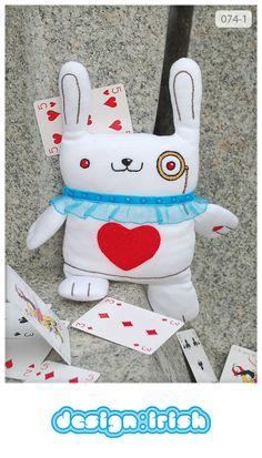 "074 | white rabbit ""Alice in Wonderland"". #plush #toy #handmade"