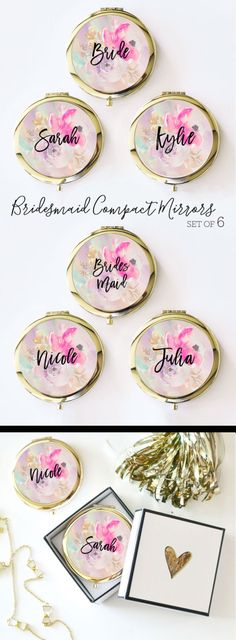 Bridesmaid Mirror Compacts - Personalized Bridesmaid Gifts Unique Bridesmaid Compact Mirror Personalized Gifts for Women (EB3166) - set of 6 by ModParty on Etsy https://www.etsy.com/listing/478850371/bridesmaid-mirror-compacts-personalized