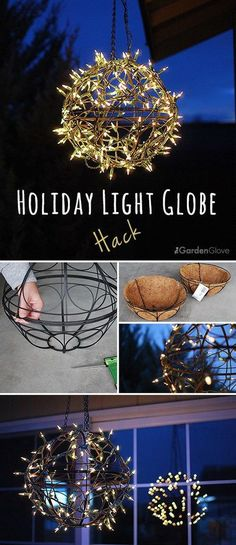 Holiday Light Globe. All you need to create this holiday light globe are a wire basket, some floral wire, and white mini lights. Super easy and fun to make and great for your outdoor decoration this holiday!