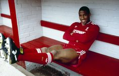 ♠ June 1987: John Barnes poses in the home team dug out for an official photograph shortly after signing for Liverpool from Watford. Photo: Steve Hale. #LFC #History #Legends