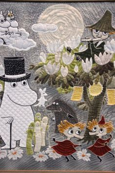Moomin Quilt, so cute! Kids Allergies, International Quilt Festival, Moomin Valley, Enchanted Doll, Tove Jansson, Totoro, Textile Art, Cute Art, Applique