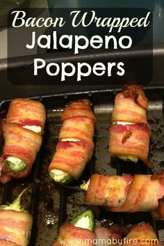 Bacon Wrapped Jalapeno Poppers - Mama By Fire Whether you're going to a football party, picnic, or any type of party, these bacon wrapped jalapeno poppers are sure to please the spice lovers there! Jalapeno Popper Recipes, Bacon Wrapped Jalapeno Poppers, Cream Cheese Stuffed Jalapenos, Stuffed Jalapeno Peppers, Jalapeno Cream Cheese Bacon, Stuffed Jalapeno Recipe, Cream Cheese Poppers, Grilled Stuffed Peppers, Chili Casserole